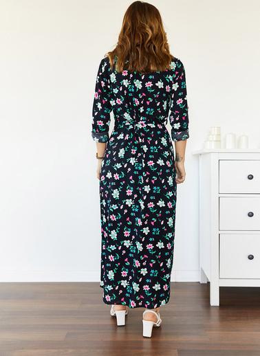 XHAN Desenli Gömlek Elbise 0Yxk6-43502-14 Lacivert